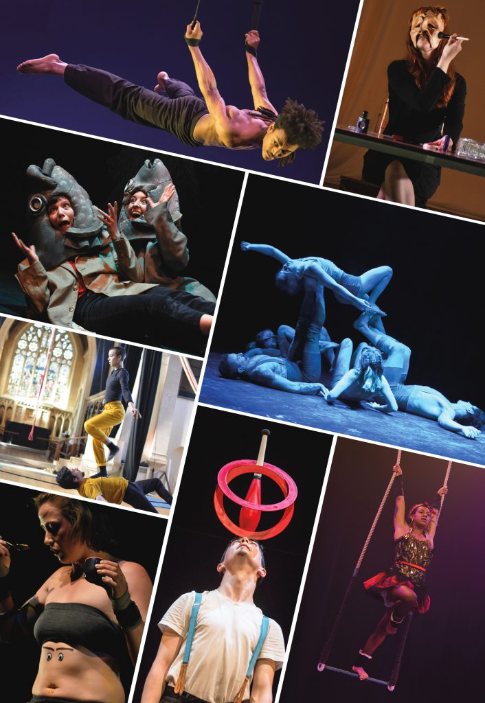 A photo montage showing Circomedia students on the BTEC, Degree and MA course performing and practising circus tricks including aerial, acro, tightwire, juggling and trapeze, as well physical theatre.