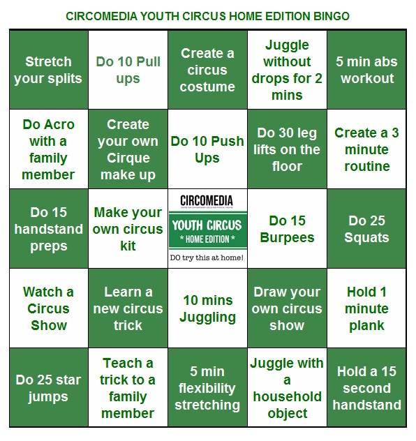 Youth Circus Home Edition Bingo