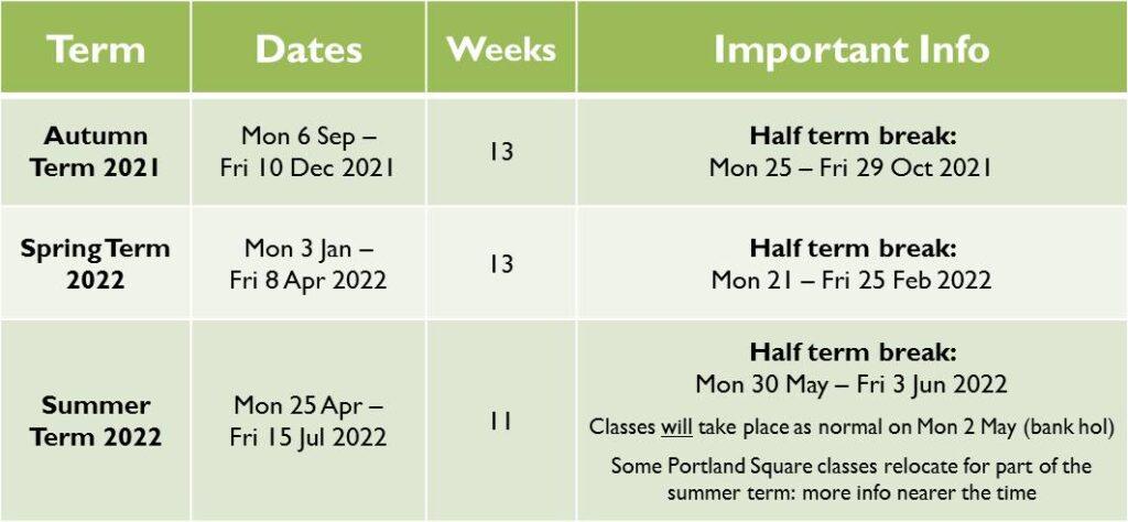 YC Term Dates 2021-22